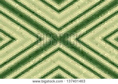 Illustration of a dark green and vanilla colored mosaic cross
