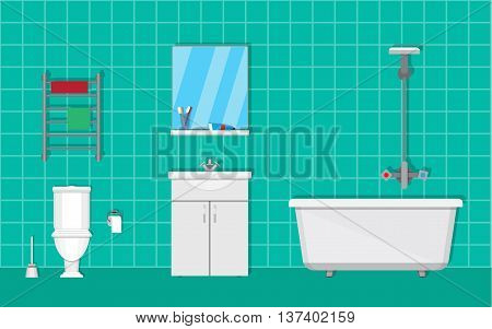Bathroom with furniture. Washbowl with mirror, bathtub, towel dryer. toilet, paper and brush. vector illustration in flat style on green background