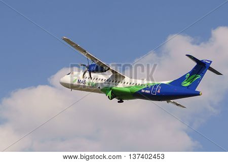Kota Kinabalu Sabah Malaysia - Feb 22 2016:MasWings Aircraft ATR-72-500 pictured on Feb 22 2016 at Kota Kinabalu International Airport. The ATR 72 is to serve regional destination within Borneo with a capacity of max 74.