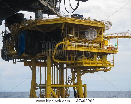 Offshore Construction Platform For Production Oil And Gas, Oil And Gas Industry And Hard Work, Produ