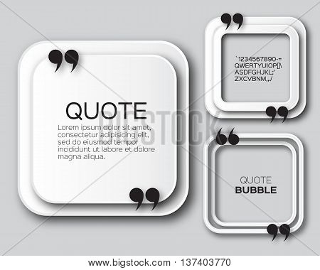 Origami Square Quote bubble. Applique Empty Citation text box template. Paper cut Quote blank. Vector design illustration.