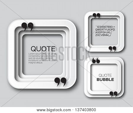 Origami Square Quote bubble. Applique Empty Citation text box template. Paper cut Quote blank. Vector design illustration.