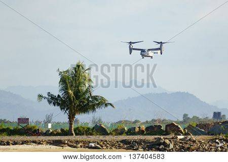 Kota Kinabalu Sabah Malaysia - Feb 22 2016 : Bell Boeing MV-22 belong to US Navy seen flying in the haze at Kota Kinabalu International Airport on Feb 22 2016.