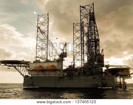 Offshore construction platform for production oil and gas, Oil and gas industry and hard work,Production platform and operation process by manual and auto function.
