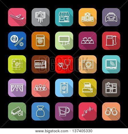 Application line icons with long shadow stock vector
