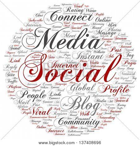 Vector concept conceptual social media marketing communication round abstract word cloud isolated on background, metaphor to networking, community, technology, advertising, global, worldwide tagcloud