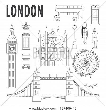 London landmarks design elements in modern linear style. Travel and tourism vector background