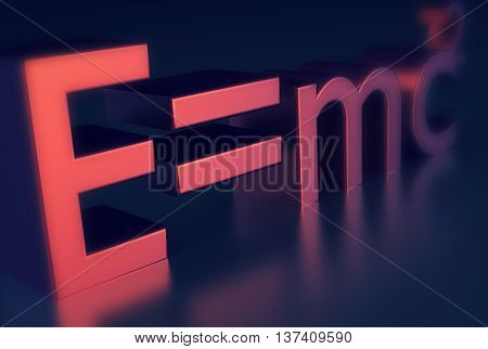 E=MC2 Einstein's famous physics formula . Toned image, 3D illustration