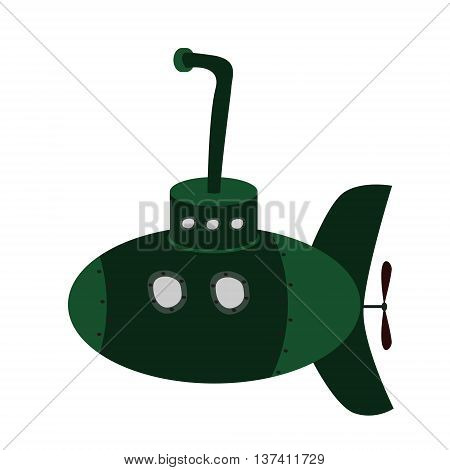 Green military submarine with periscope. Cartoon style vector illustration. Isolated on white background.