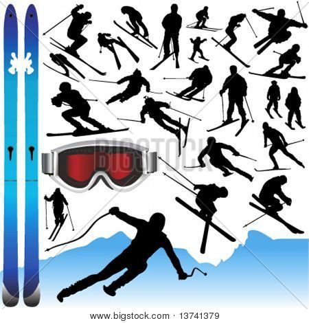collection of ski vector and equipments