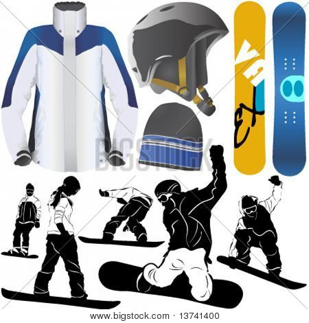collection of snowboard vector 2