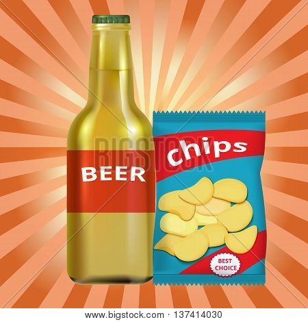 beer and chips on a background with rays