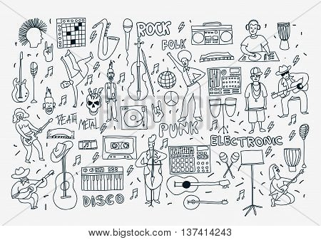 Vector hand drawn cartoon icons. Music genres theme. Line black and white doodle icons. Music illustration for textil paper polygraphy game web design