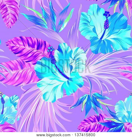 amazing vector tropical flowers patten. seamless design with gorgeus botanical elements, hibiscus, palm, bird of paradise. Vector editable file poster