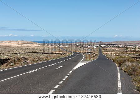 Straight road on Fuerteventura. Canary Islands Spain