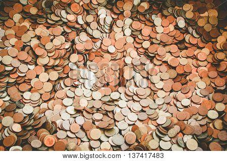 Thai Satang coin money baht of Thailand.