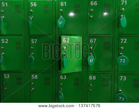 Numbered cell storage in a baggage room detailed stock photo
