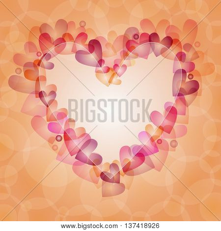 Beautiful and romantic background with hearts and dots