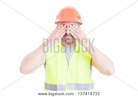 See No Evil Concept With Attractive Male Constructor