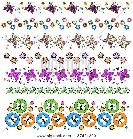 Trim or border collection with flowers and butterfly