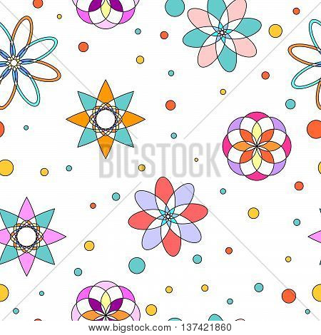 Seamless tiling texture with colorful abstract ornaments, flowers and dots