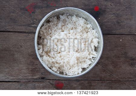 rice for give alms to a Buddhist monk-Thailand traditional