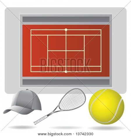 tennis field and accessories
