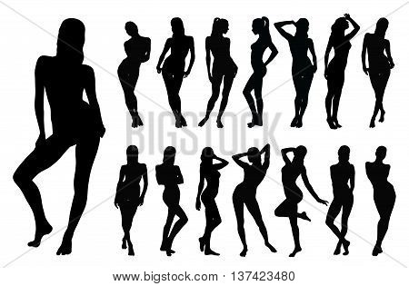 Black silhouette of beautiful woman in different standing positions.