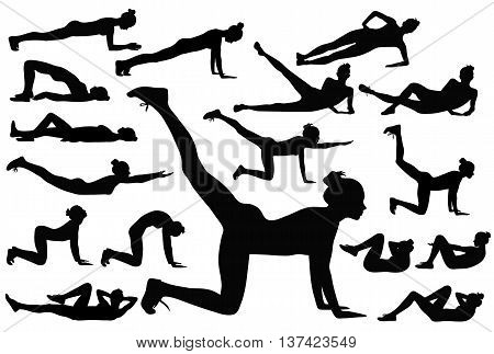 Black silhouettes of woman doing fitness exsercises.
