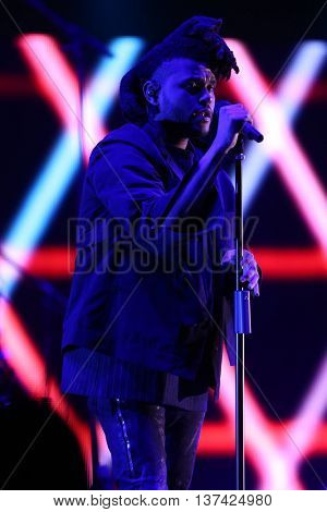 HOLLYWOOD, CA-OCT 24: Recording artist The Weeknd performs during CBS RADIOs third annual We Can Survive presented by Chrysler at the Hollywood Bowl on October 24, 2015 in Hollywood, California.