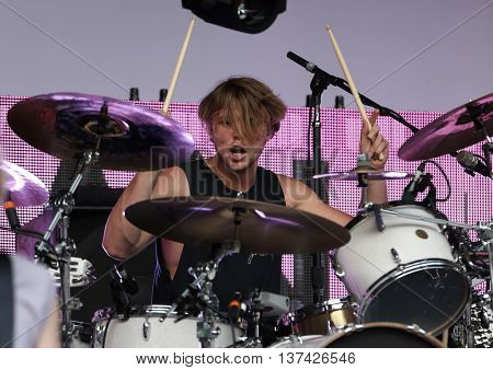 HOLLYWOOD, CA-OCT 24: Ashton Irwin of 5 Seconds of Summer performs before CBS RADIOs 3rd annual We Can Survive presented by Chrysler at the Hollywood Bowl on October 24, 2015 in Hollywood, California.