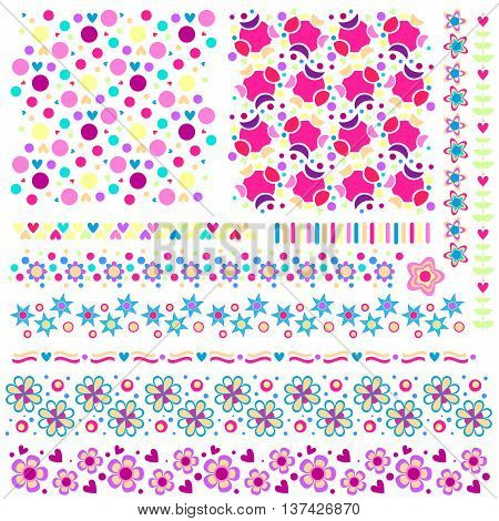 Colorful texture and trim collection with flowers and hearts
