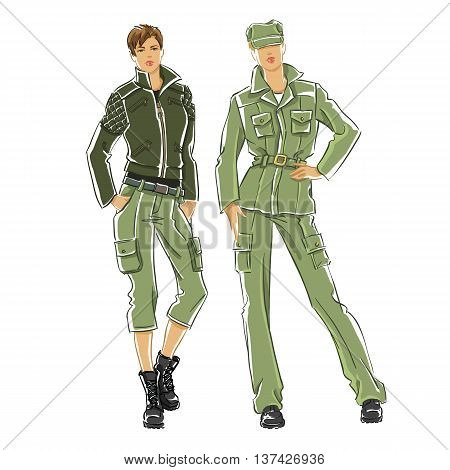 Sketch of woman in military uniform isolated on white background