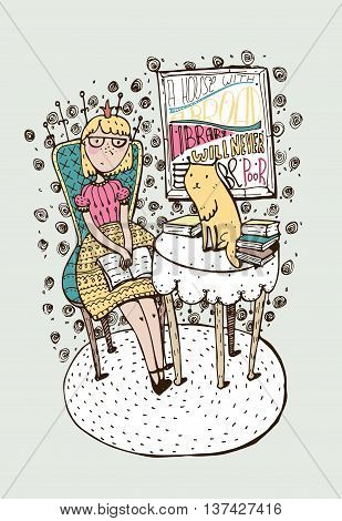 Hand drawn girl sitting with open book and cat on table. Lettering with quote about education books. Colorful vector illustration drawn with brush and liquid ink for bookstore library on bookshop.