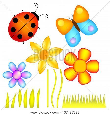 Flowers, Lady Bug, and Butterfly isolated over white background