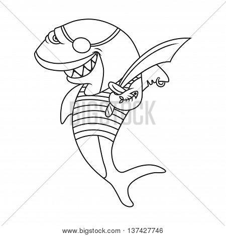 Cartoon pirate shark. coloring book. Vector illustration of cute animal. doodle shark