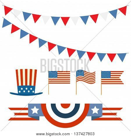 Independence day of America.Blank banner bunting or swag templates for scrapbooking parties. Patriotic Symbolic Decoration for Holiday. National flag Usa.