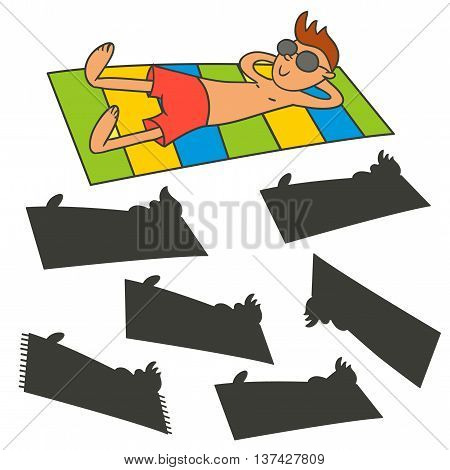 Man sunbathing on the beach. Find the right shadow image. Educational games for kids.Vector stock illustration