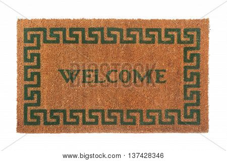 Welcome door mat isolated on a white background.