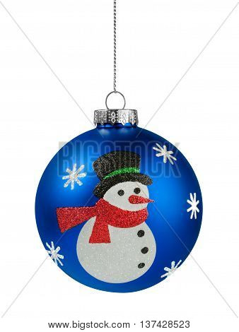 Snowman Christmas ball isolated on the white background