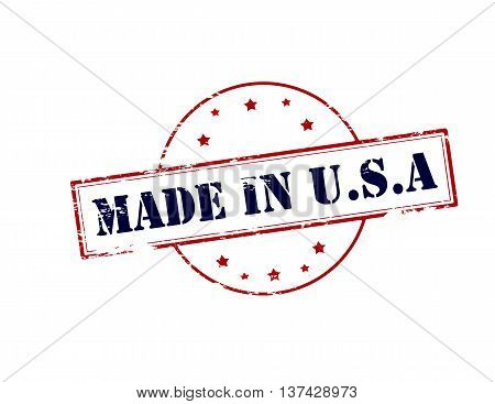 Rubber stamp with text made in USA inside vector illustration