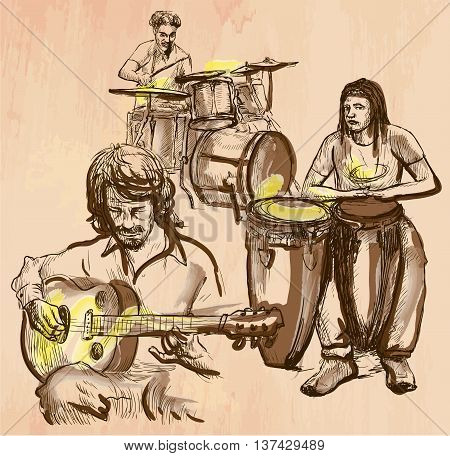 An hand drawn vector - MUSIC BAND guitar player and drummers - colored line art. Vector is editable in groups and layers - freehand sketching.