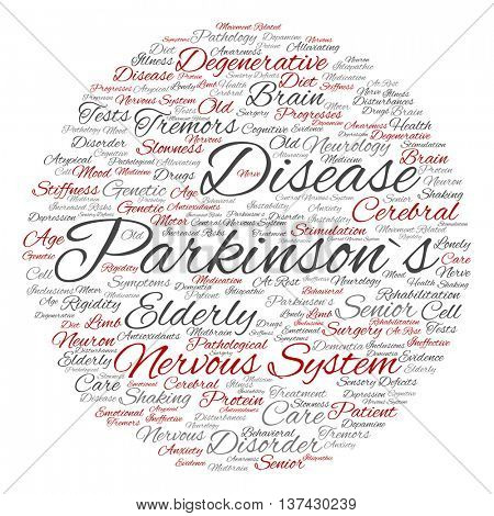 Concept conceptual Parkinson`s disease healthcare, nervous system disorder round abstract word cloud isolated on background, metaphor to healthcare, illness, degenerative, genetic symptom b poster