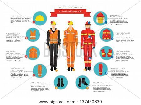 Infographics of professional uniform for hard-working people. Safety clothes and helmet.