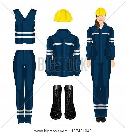 Woman worker in protective wear, black shoes and yellow safety helmet on white background