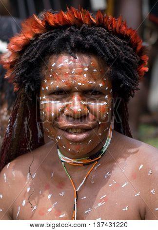 A Traditional  Papua Woman In A Village Near Wamena