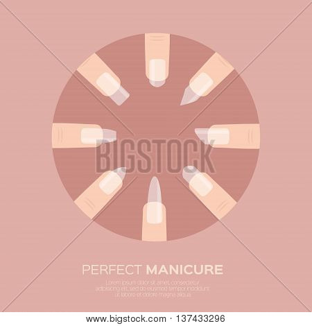 Different nail shapes icons. Woman fingers. Fingernails fashion trends. Types of fashion nail shapes. Vector design illustration on pastel background