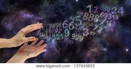 Numerology Practitioner Website Banner - Wide night sky deep space background with multicolored transparent numbers appearing to flow out from a pair of hands in bottom left corner