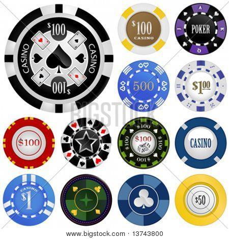 gambling chips vector set