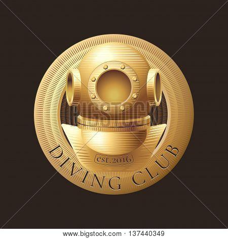 Diving and snorkeling vector logo icon symbol emblem sign design element. Retro vintage diving suit trophy illustration